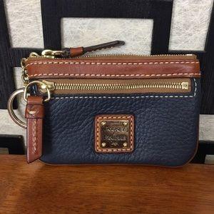 Dooney & Bourke Navy Blue Leather keychain wallet